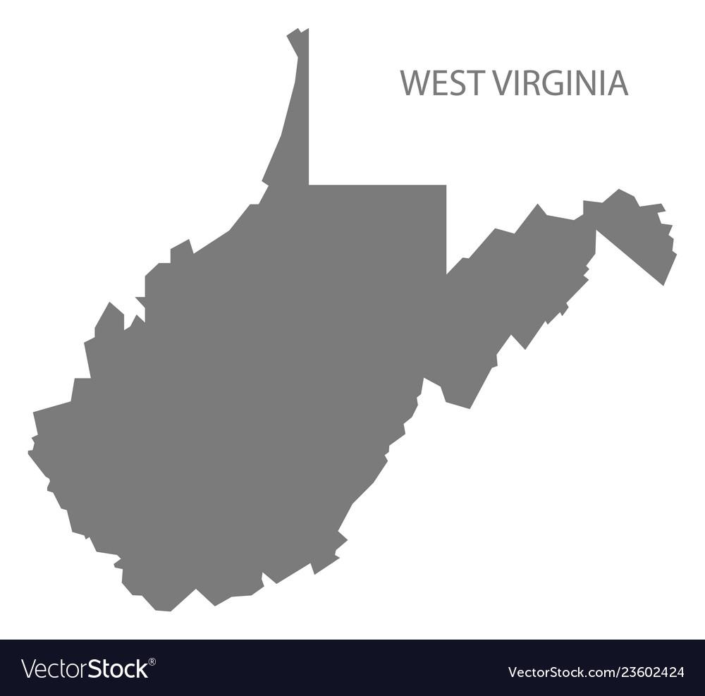 West virginia usa map grey
