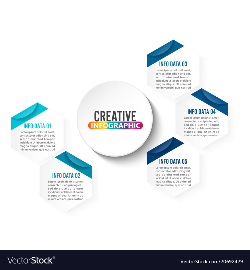 Abstract infographics number 5 options template