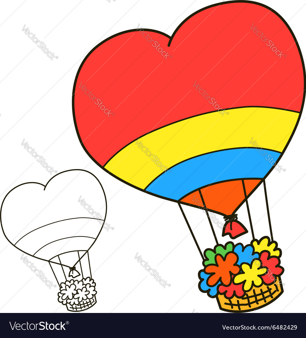 Air balloon Coloring book page