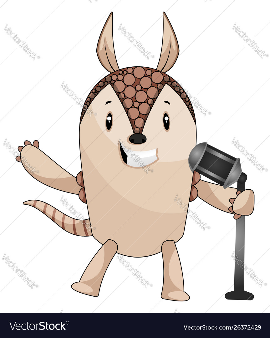 Armadillo with microphone on white background