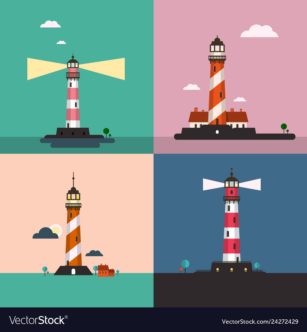 Beacon on sea landscape lighthouse flat design set