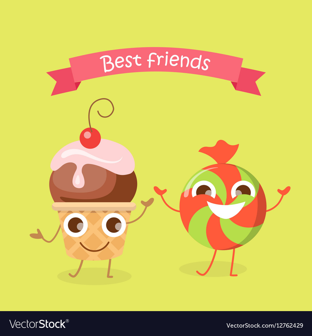Best Friends Caramel Candy and Cupcake Characters vector image