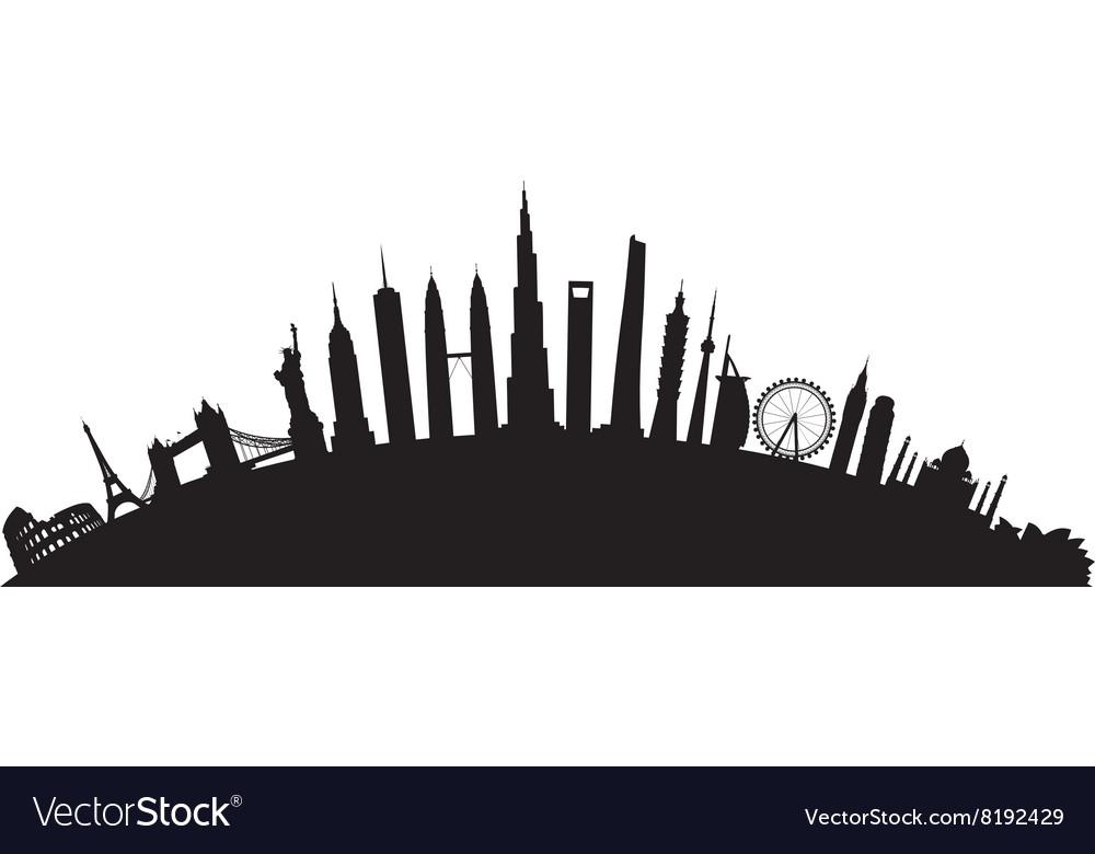 Black round cityscape