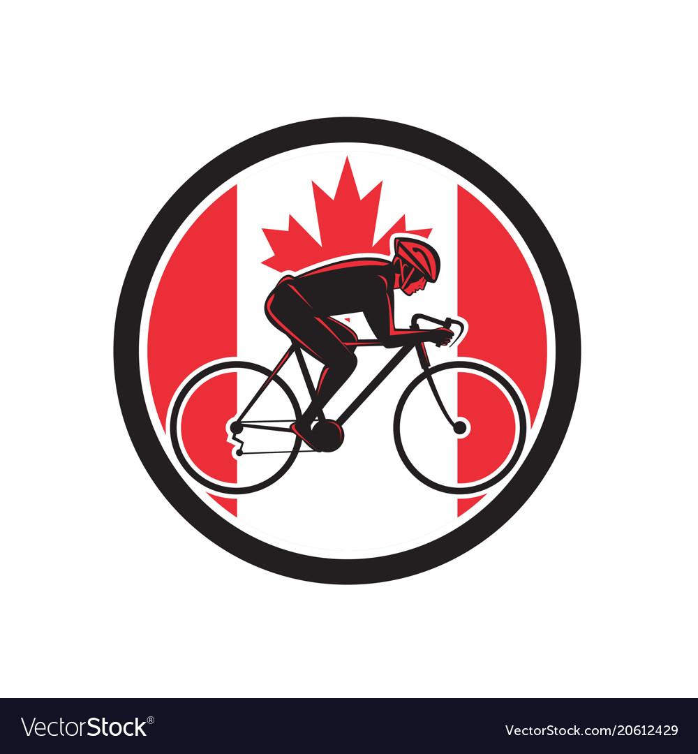 Canadian cyclist cycling canada flag icon