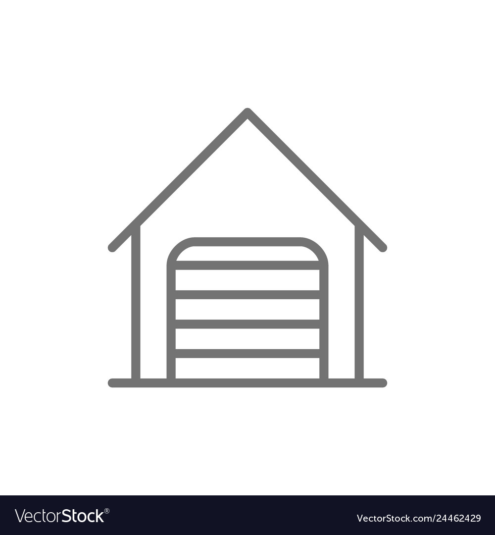 Car garage with roller shutter door line icon