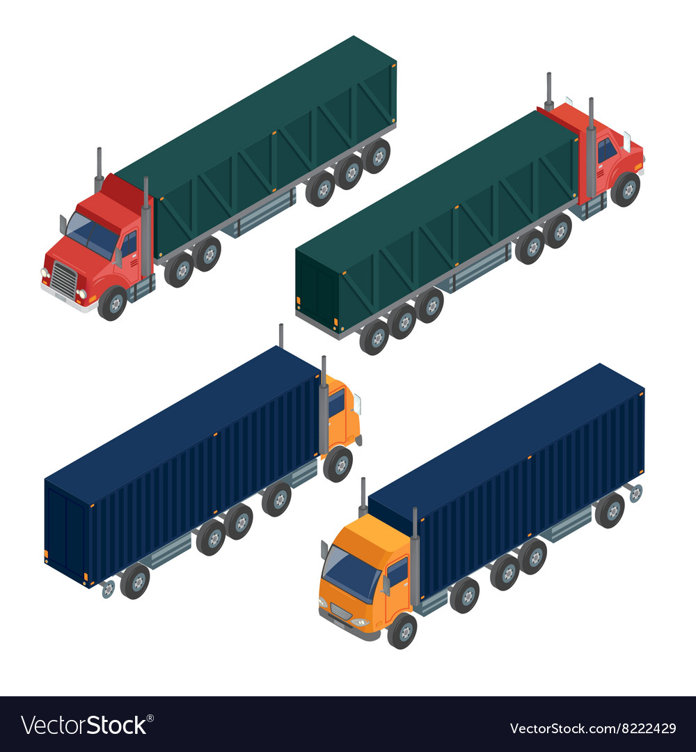 Cargo Transportation Isometric Truck Delivery