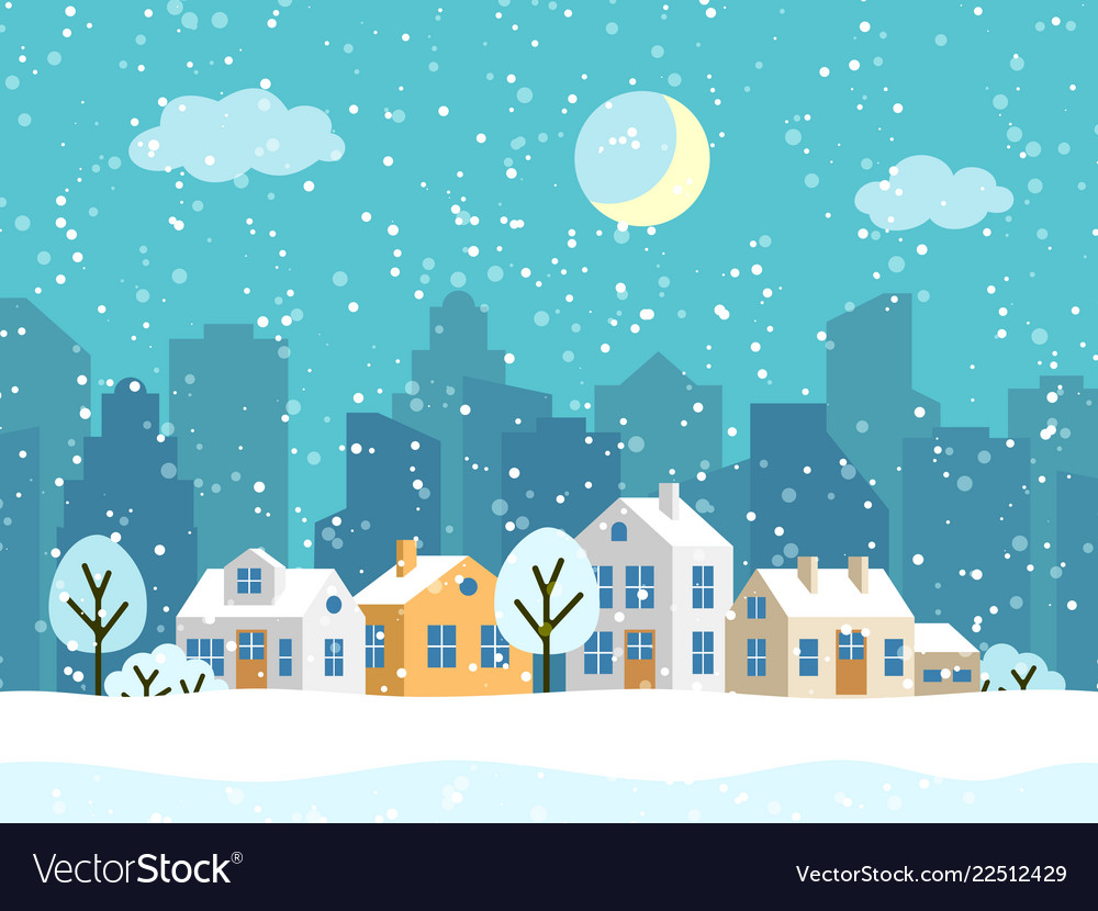 Christmas winter landscape with small