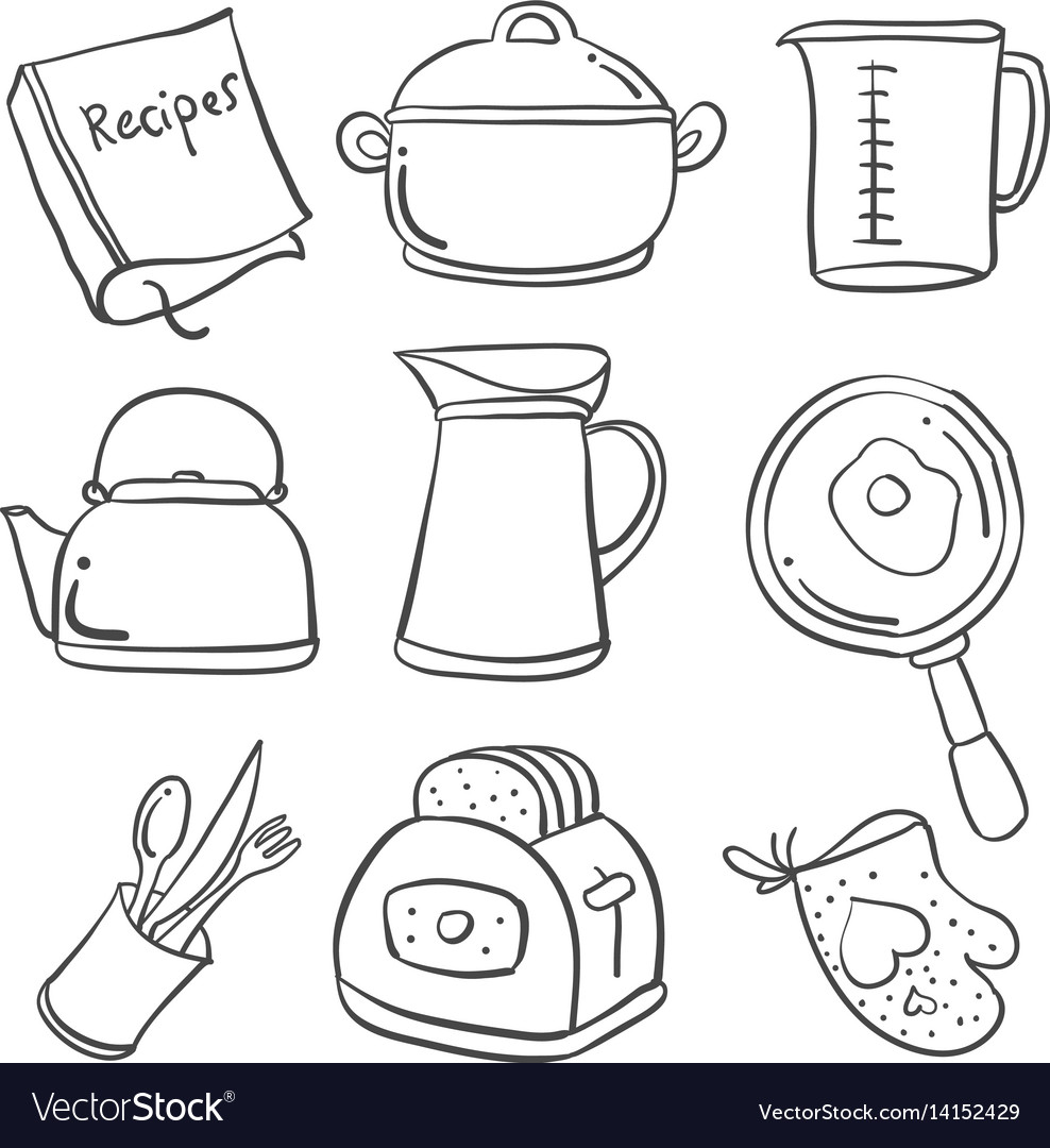 Doodle Of Kitchen Set Hand Draw Royalty Free Vector Image