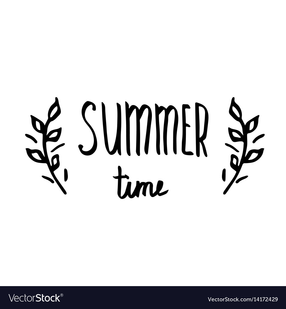 Hello summer - hand drawn brush text handmade