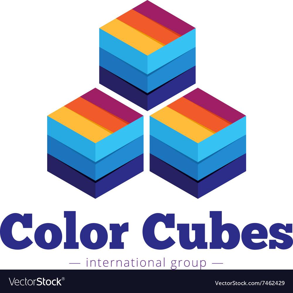 Paper style multicolor cubes logo Flat
