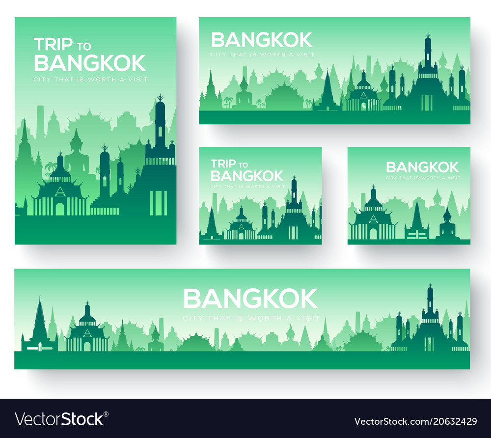 Set of bangkok landscape country ornament travel vector image