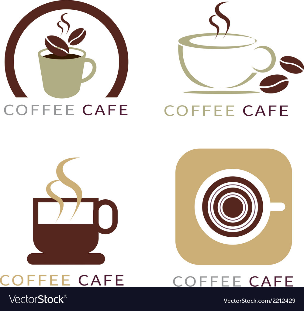 Set of icon on coffee element