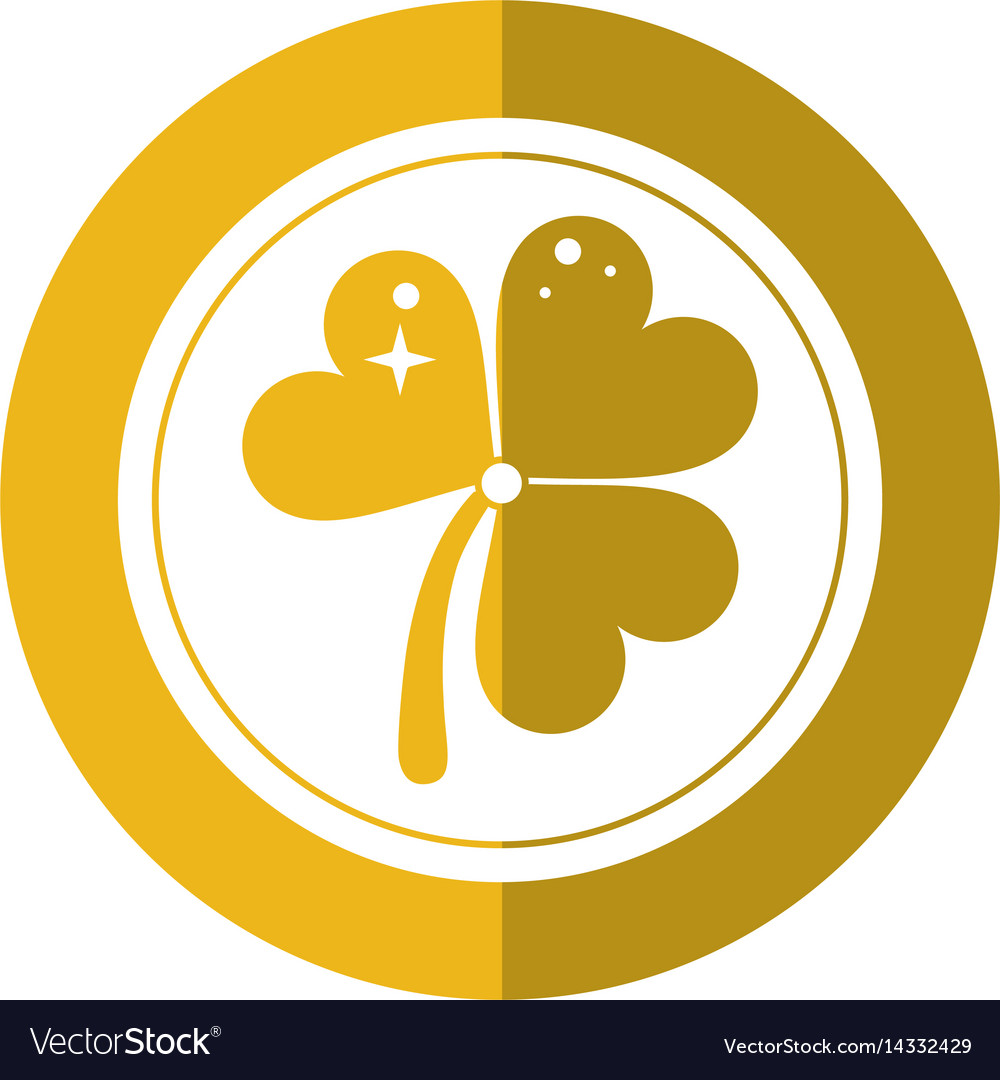 St Patricks Day Gold Coin Clover Shadow Vector Image