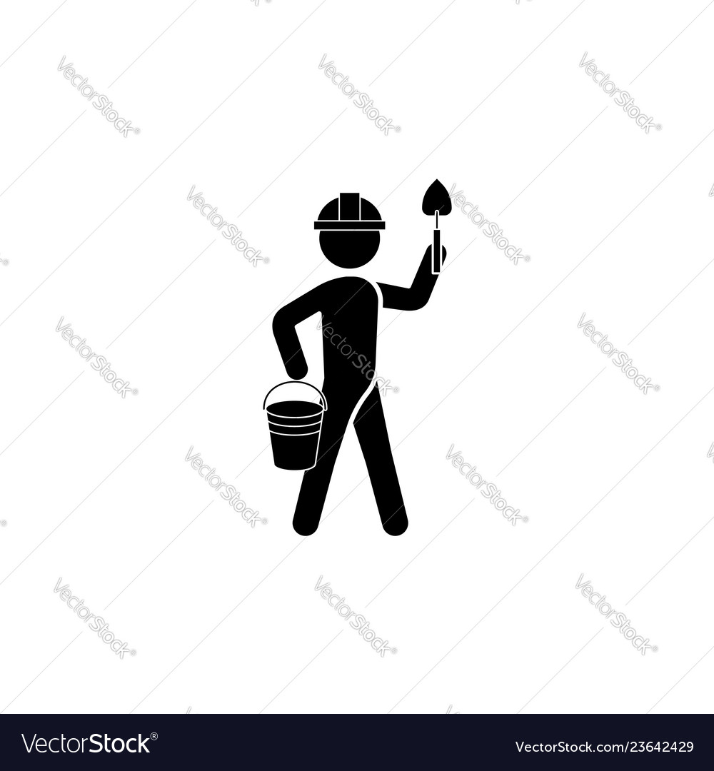 The builder in a helmet with a trowel icon