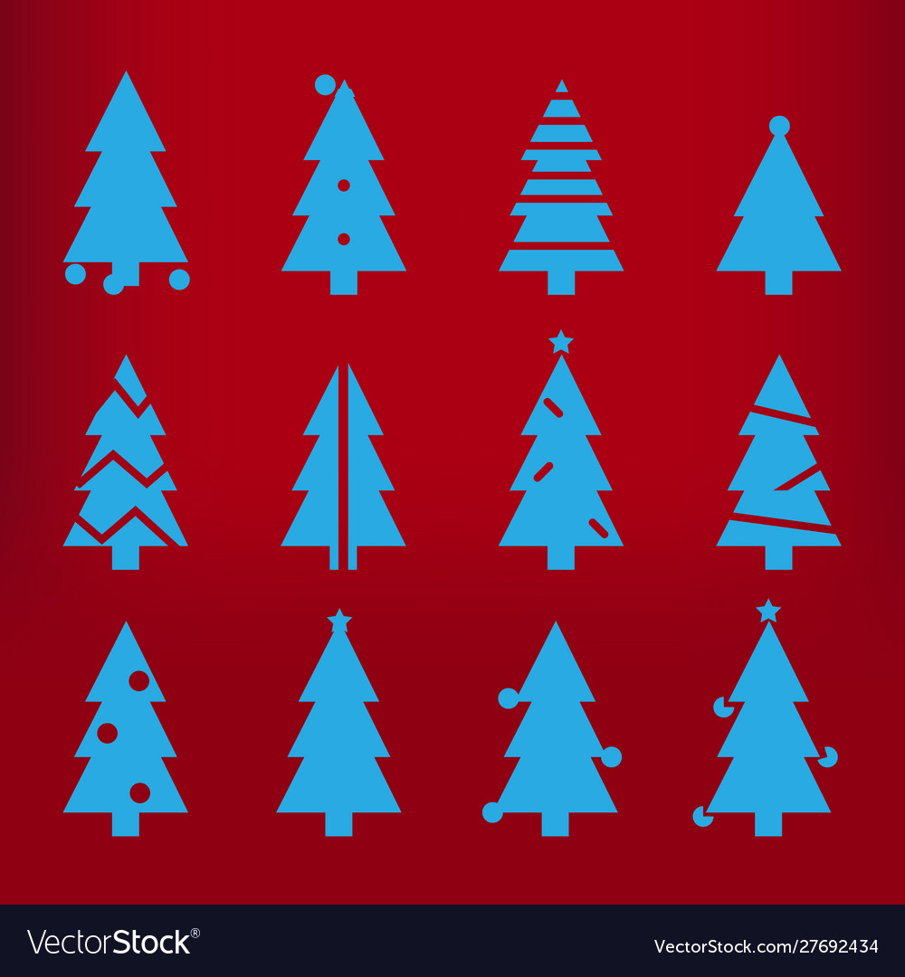 Blue silhouette christmas trees stylized simple