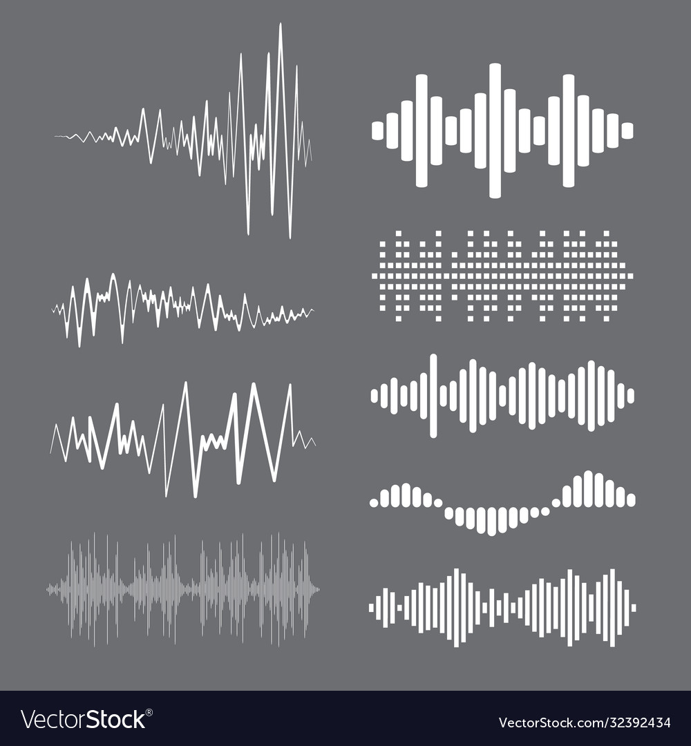 Collection white music wave on grey background