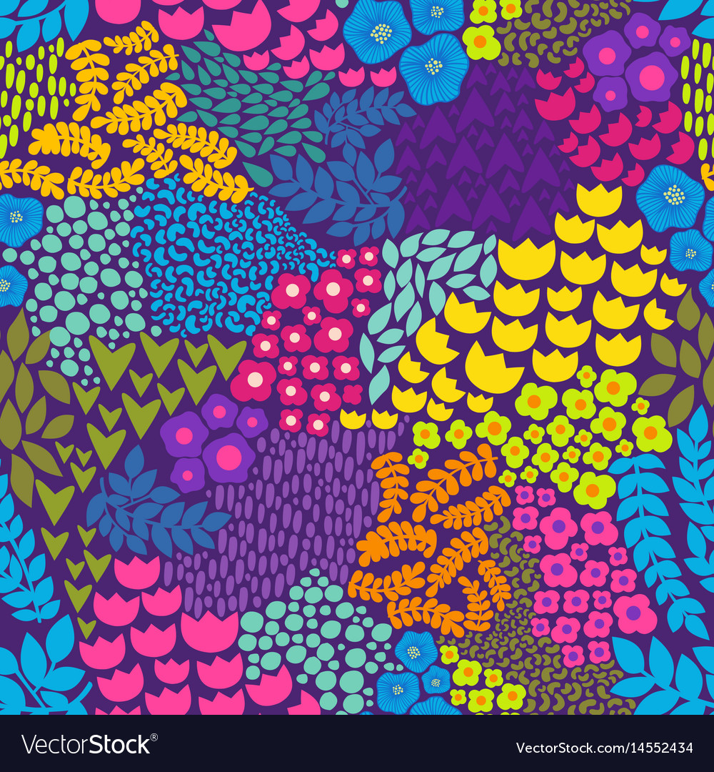 Colorful Floral Pattern Background For Design Vector Image