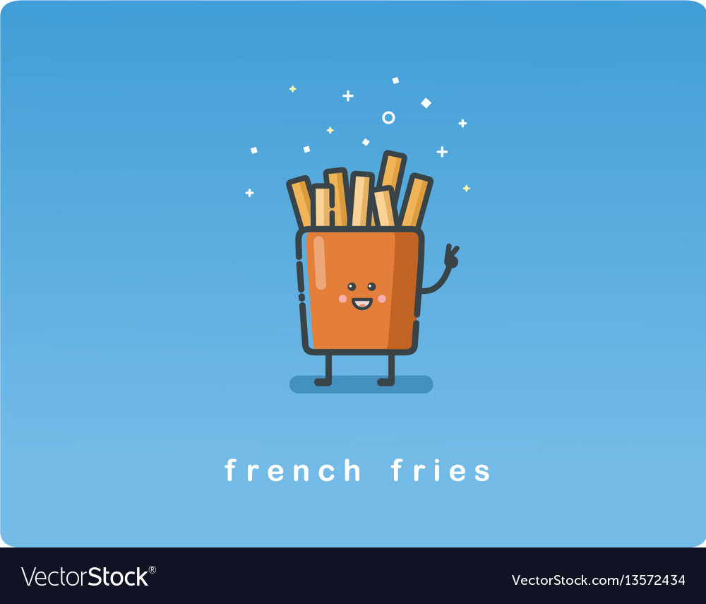 Flat icon of french fries funny character
