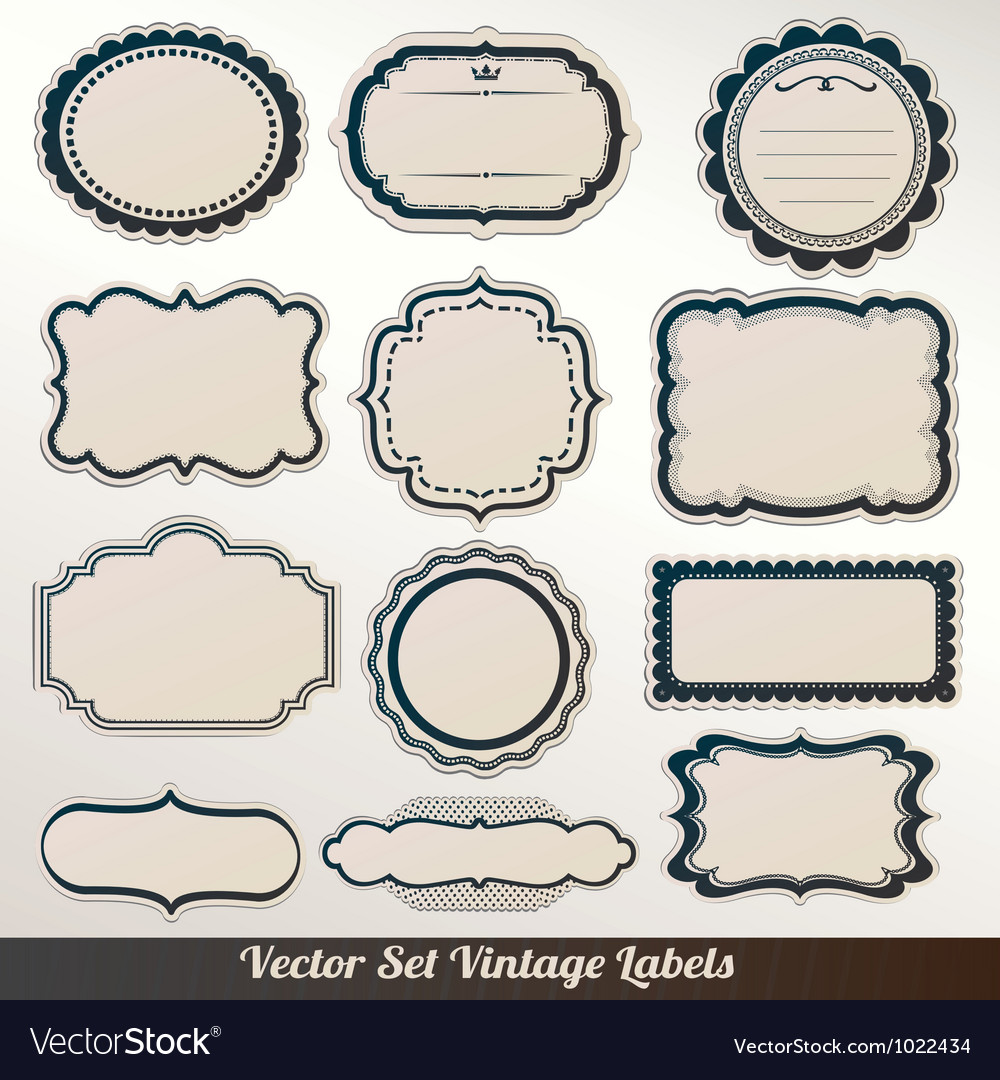 Frame labels Set ornamental vintage decorat