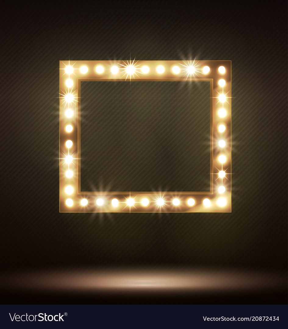 Gold frame with bulb lamp for your design