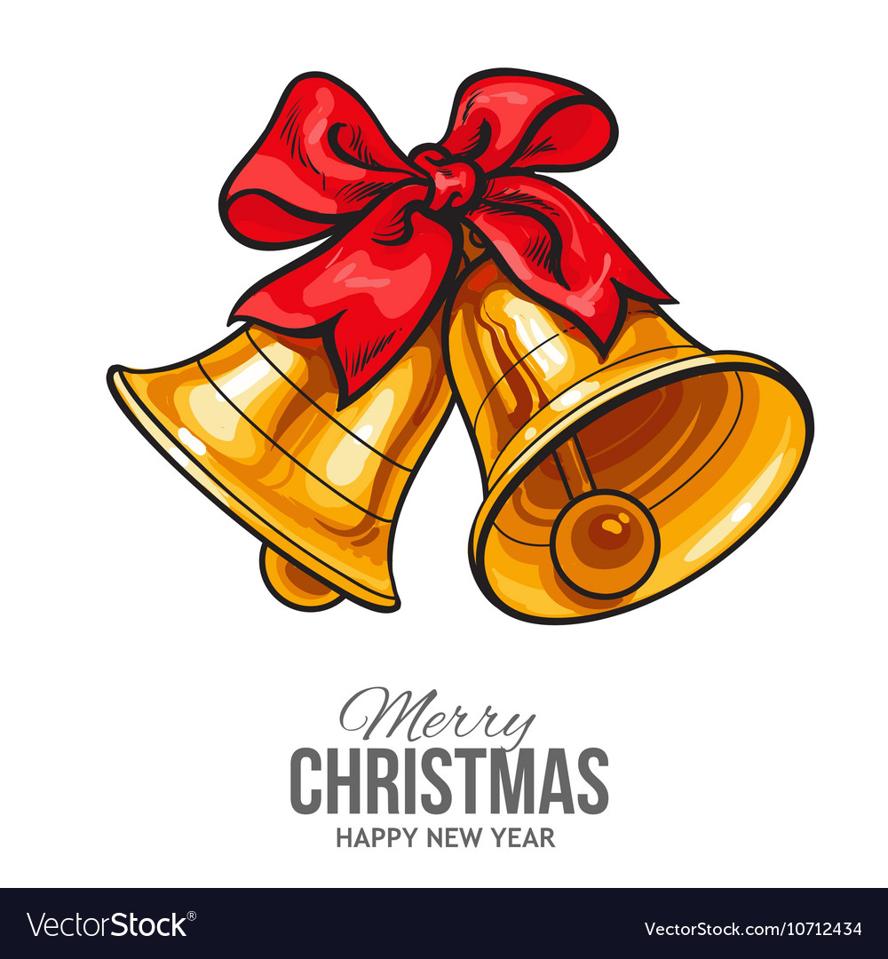 Golden bells with a red bow Christmas greeting