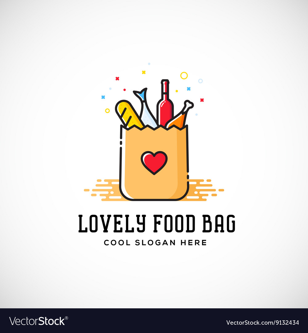 Lovely Food Paper Bag with Heart Symbol Bread