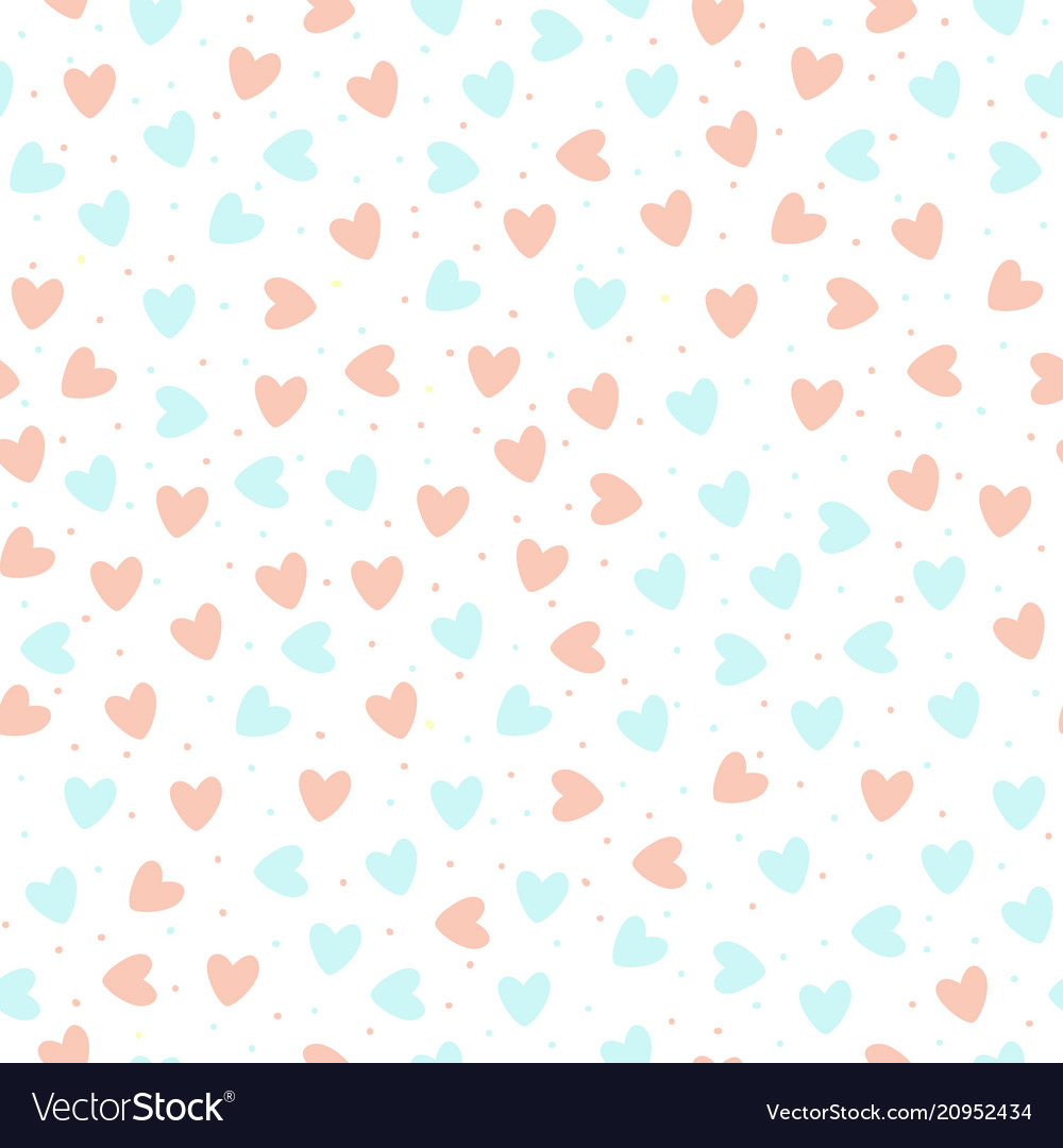 Repeated hand drawn hearts on white background