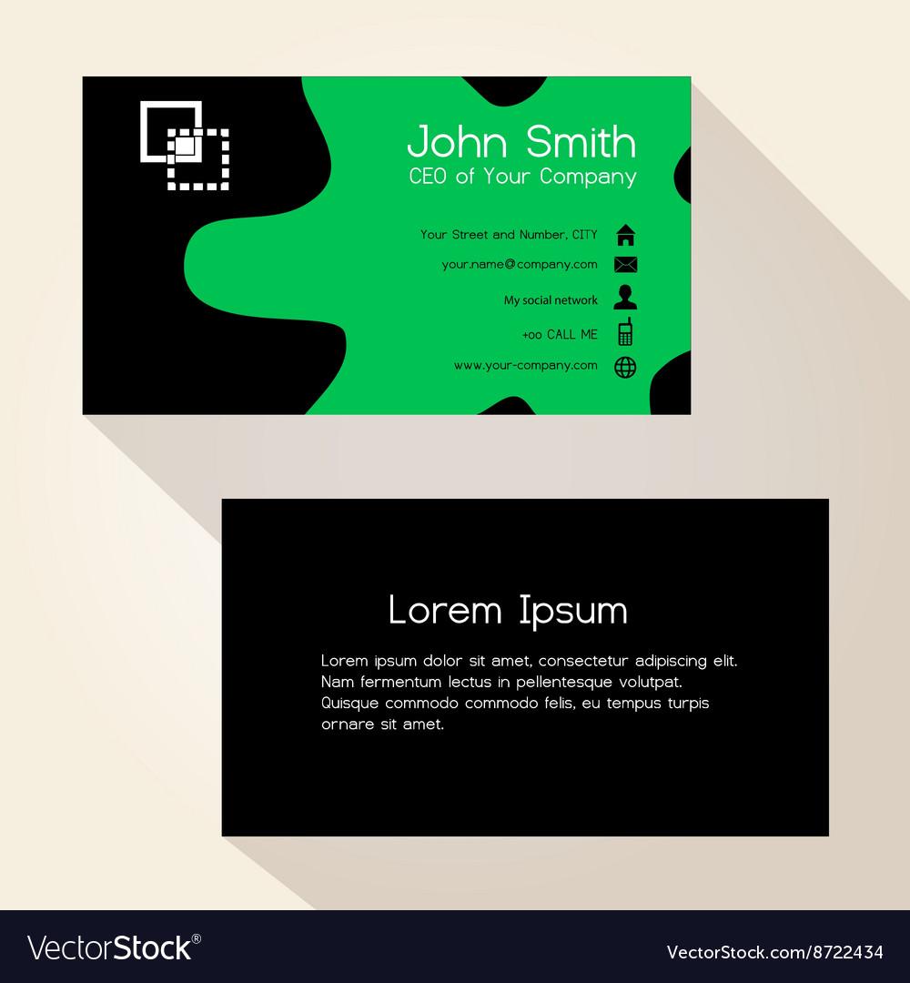 Simple green spot black business card design eps10