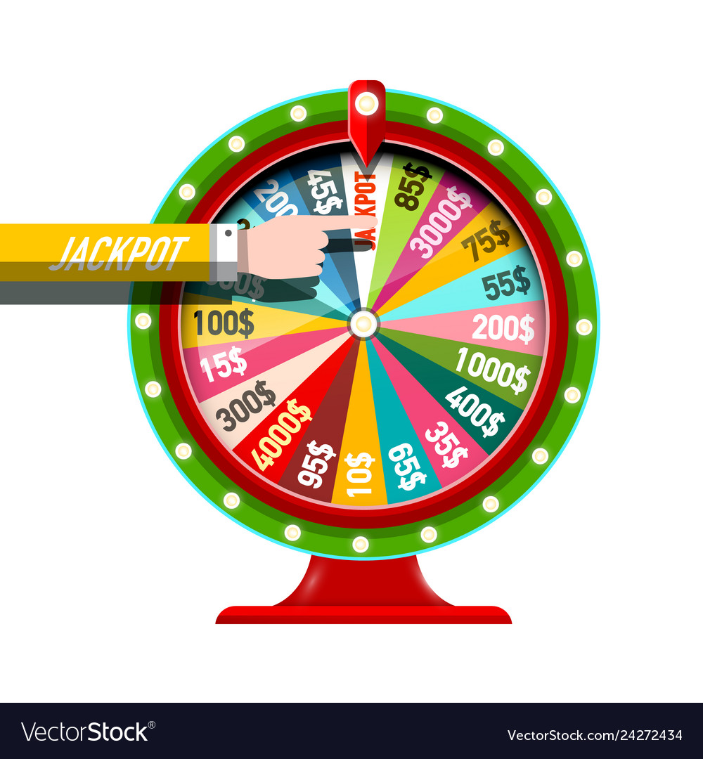 Wheel of fortune icon with jackpot hand