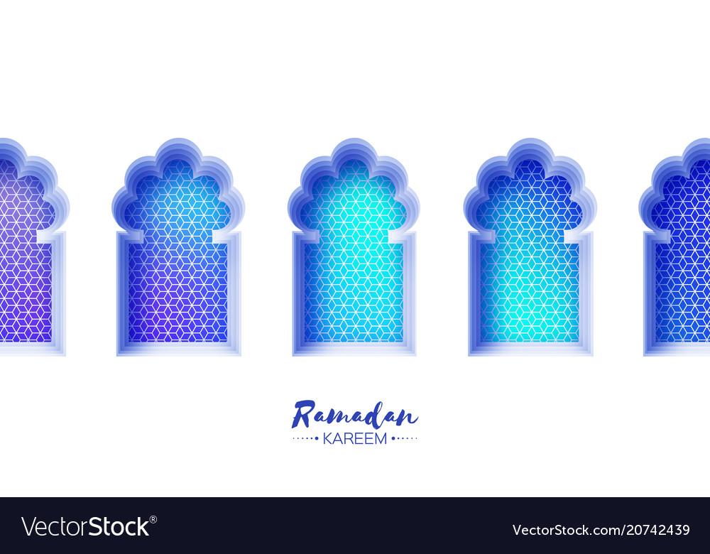 Arabic window arch in paper cut style origami