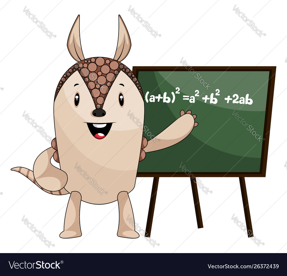Armadillo with blackboard on white background