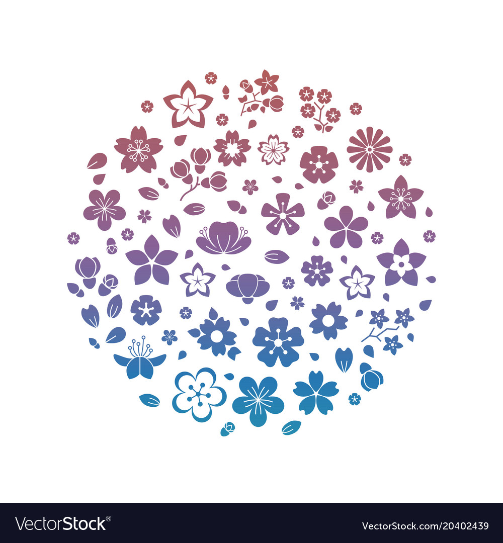 Colorful logo blossom flowers silhouettes isolated vector image