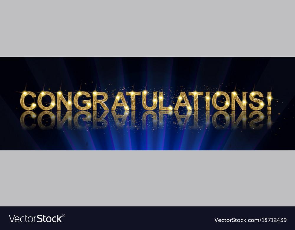 congrats congratulations gold banner royalty free vector