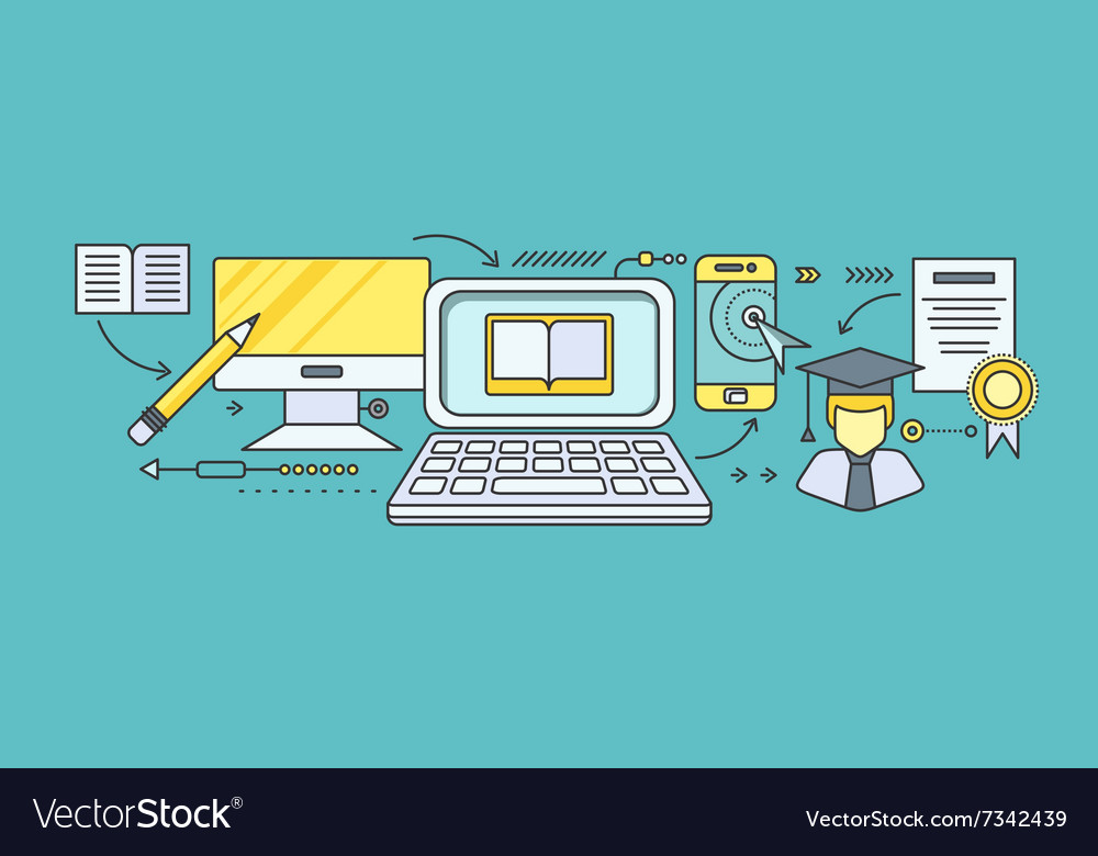 Distance Learning And Education Royalty Free Vector Image