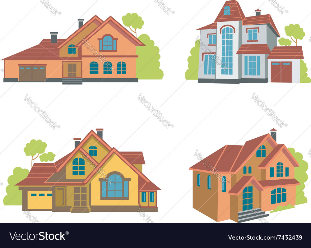 Flat houses set vector image