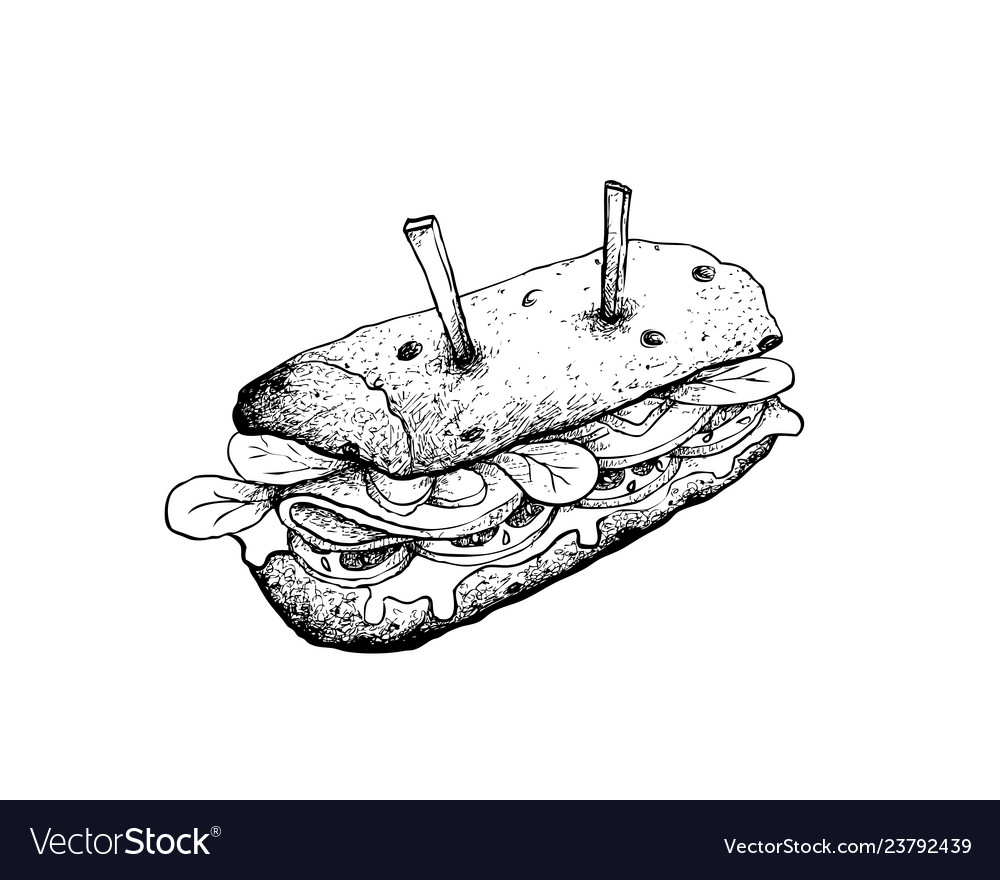 Prime Hand Drawn Of Baguette Sandwich On White Backgroun Funny Birthday Cards Online Aeocydamsfinfo