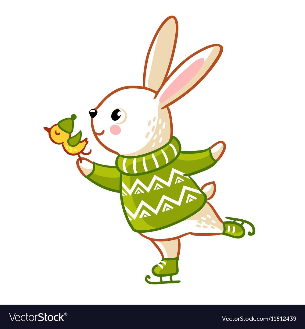 Hare in sweater skates