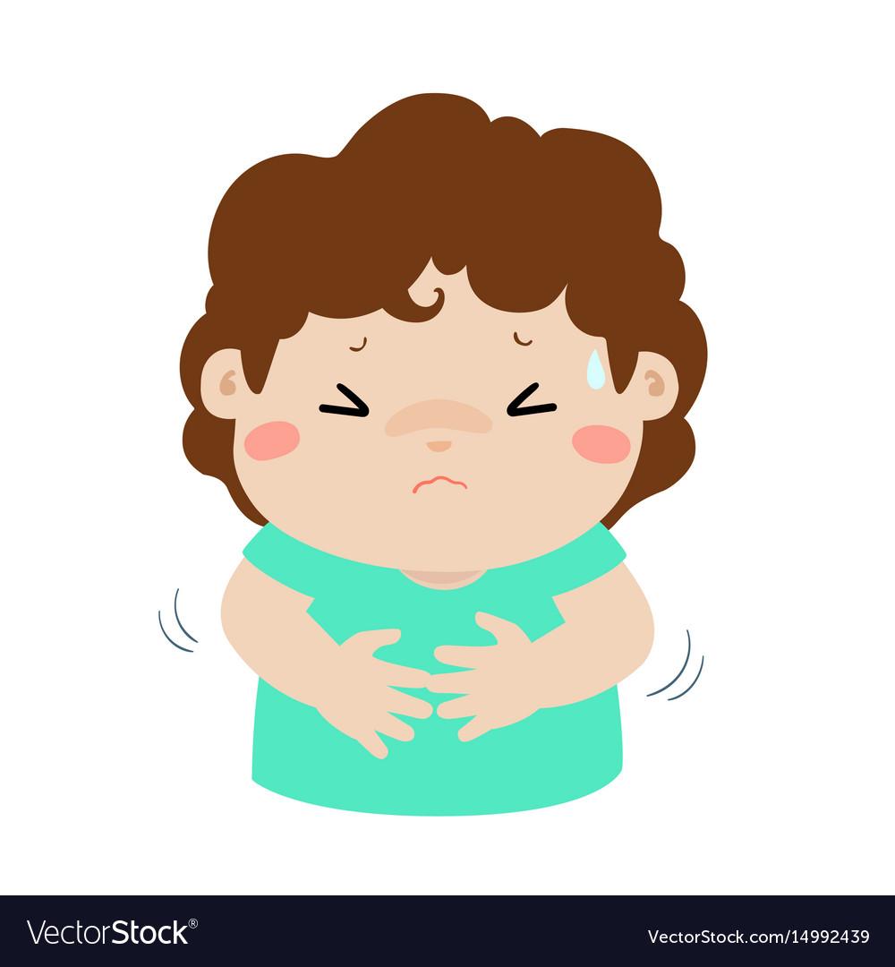 little boy having stomach ache cartoon royalty free vector vectorstock