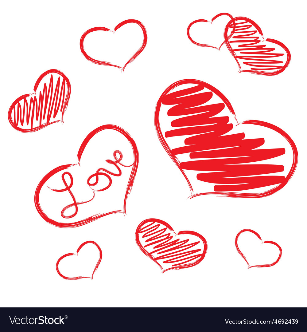 Red Love Heart Symbols Grunge Hand Drawn Eps10 Vector Image