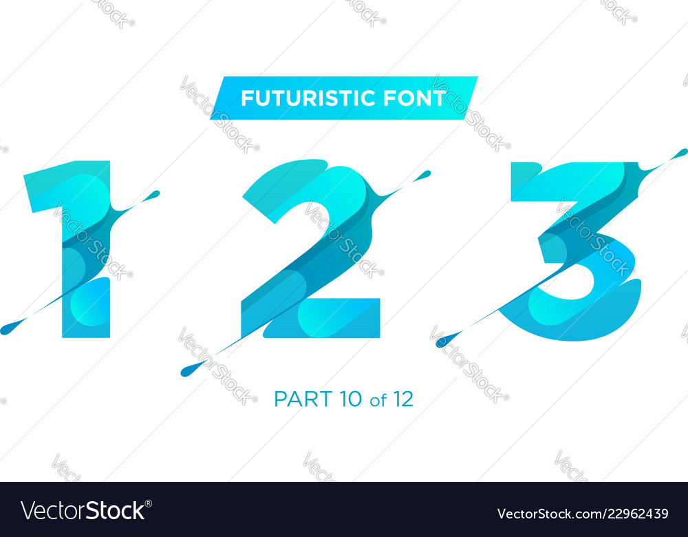 Unique futuristic numbers decorative