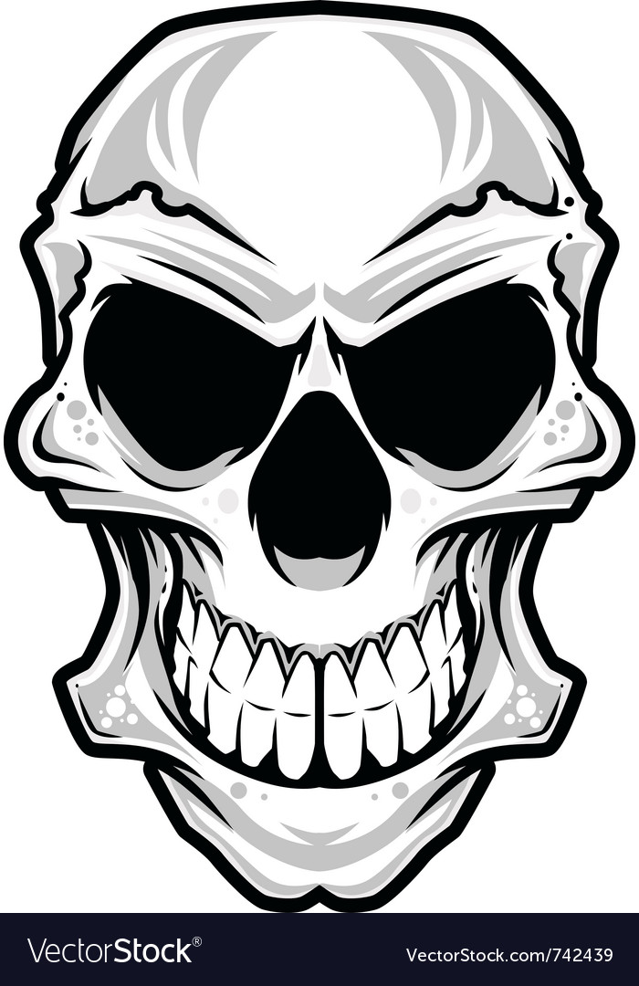 White angry skull vector image