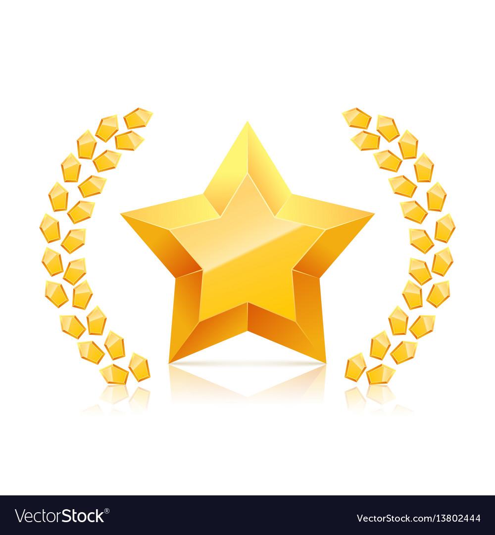 3d golden yellow star laurel wreaths branch