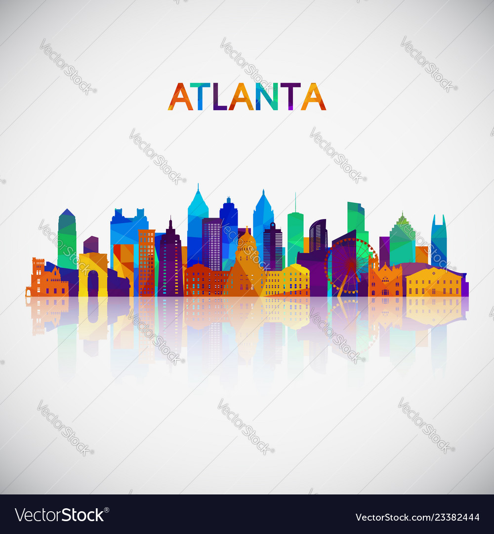 Atlanta skyline silhouette in colorful geometric