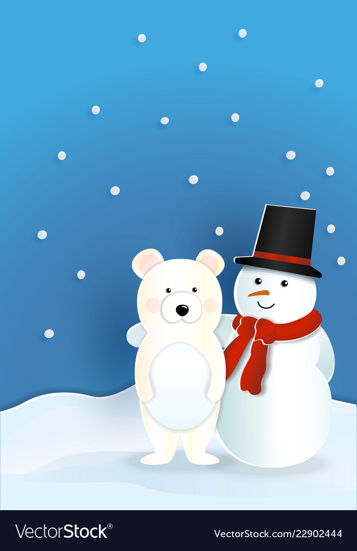 29975ead4b6e6 Bear wearing red hat with snowman wearing red Vector Image