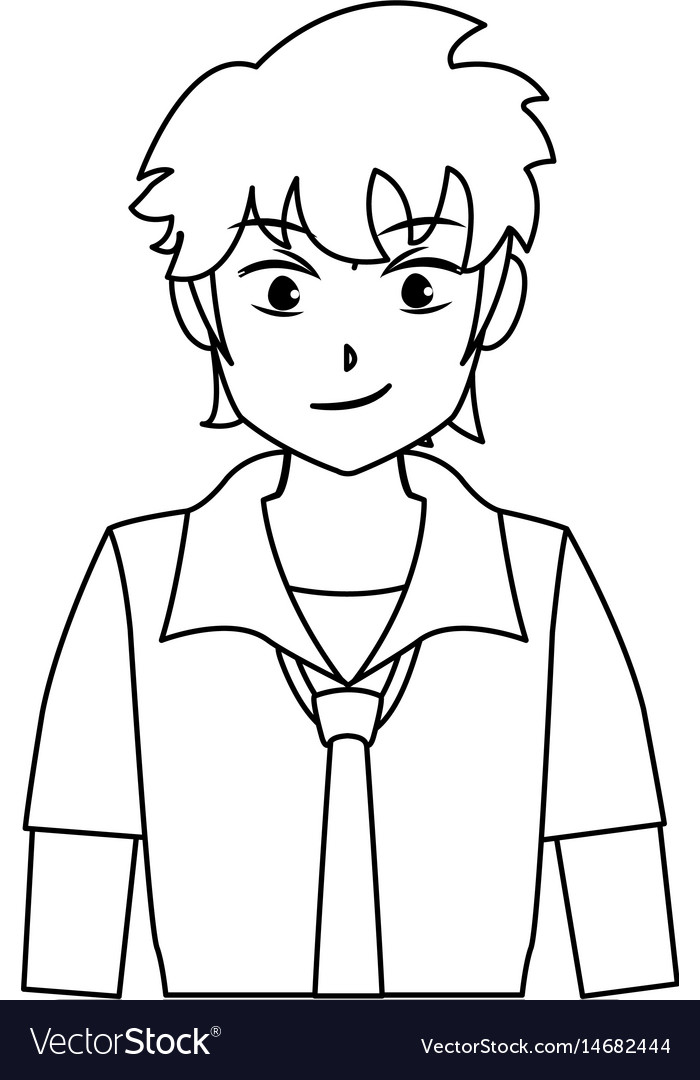 Character boy anime teenager outline
