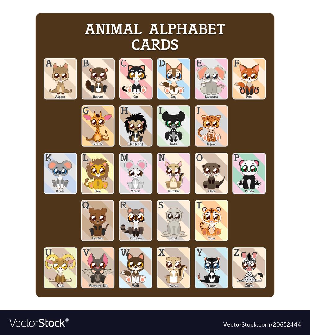 Fun educational animal alphabet cards