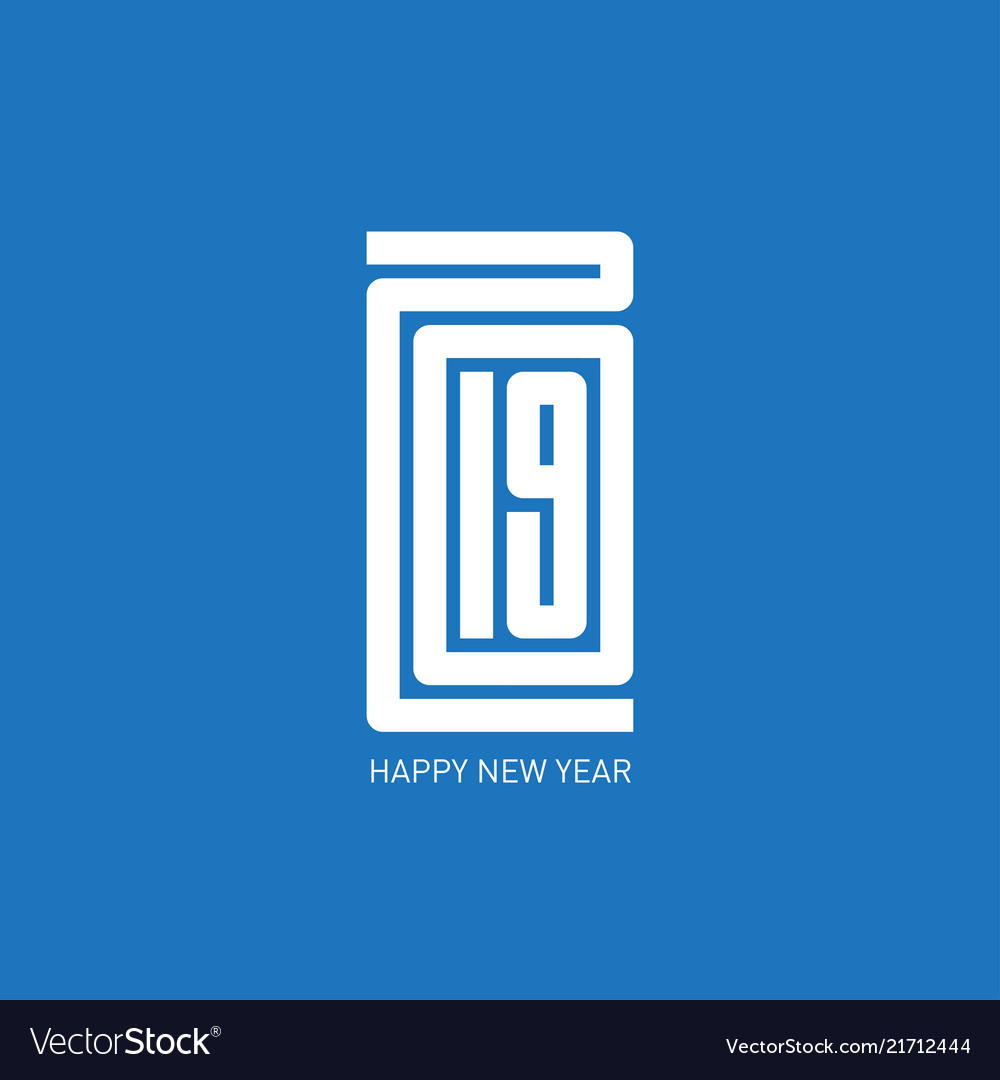 Happy new year 2019 minimalist calendar or