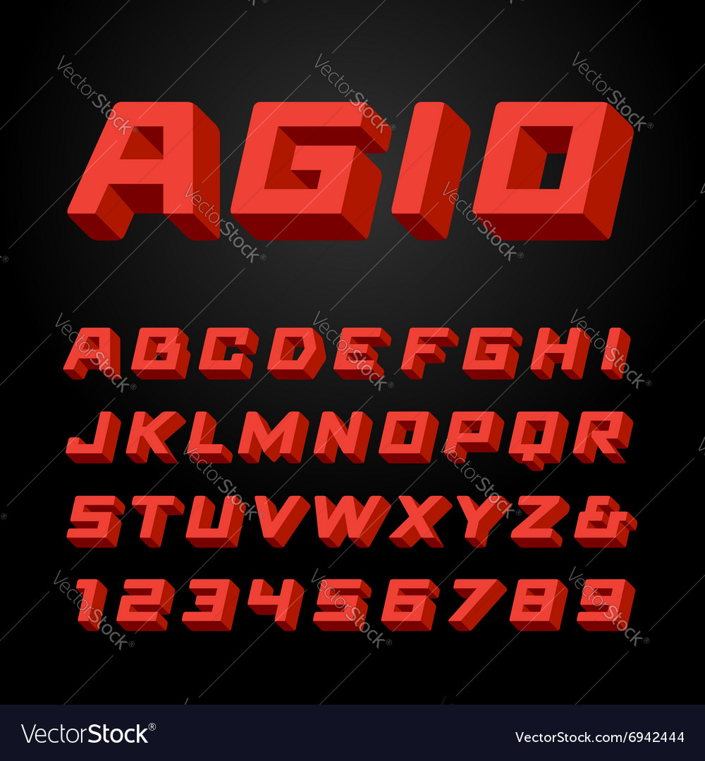 Isometric font alphabet with 3d effect letters and