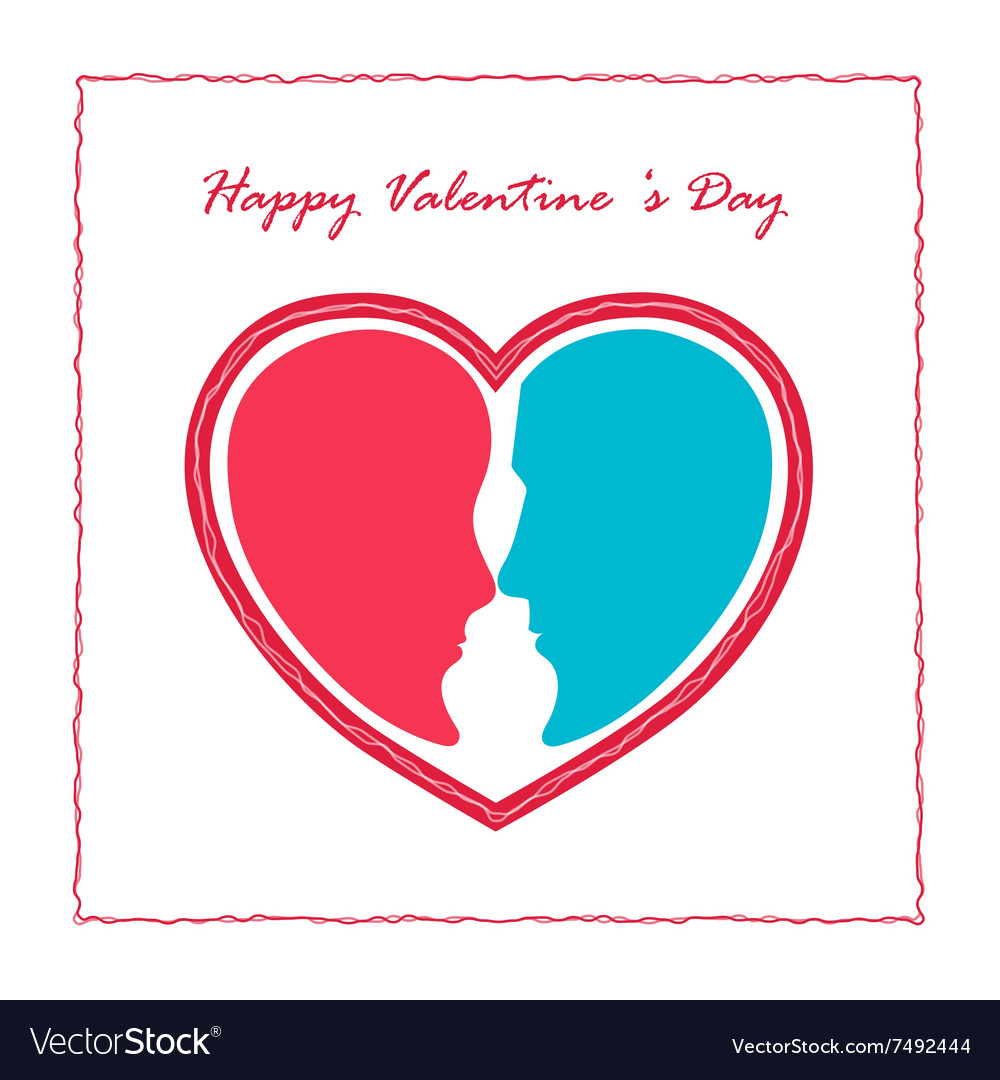 Man face and woman face with red heart shape vector image