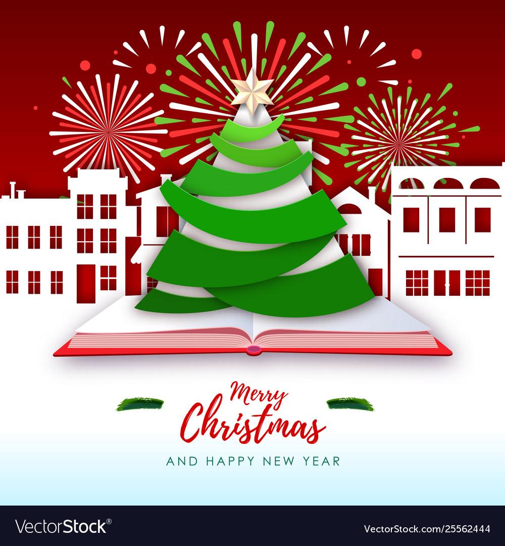 Merry christmas greeting card with christmas tree